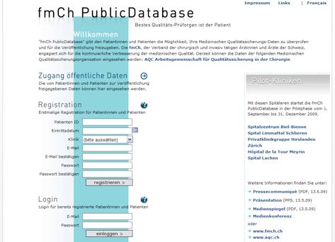 fmCh PublicDatabase - Screenshot Homepage