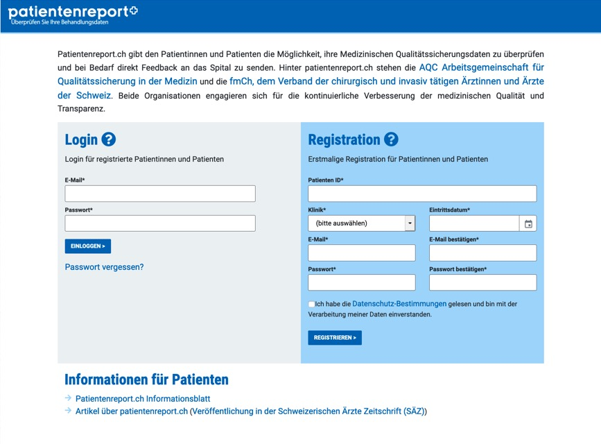Screenshot AdjumedValidate/Patientenreport Homepage