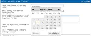 Screenshot AdjumedCollect: Date field