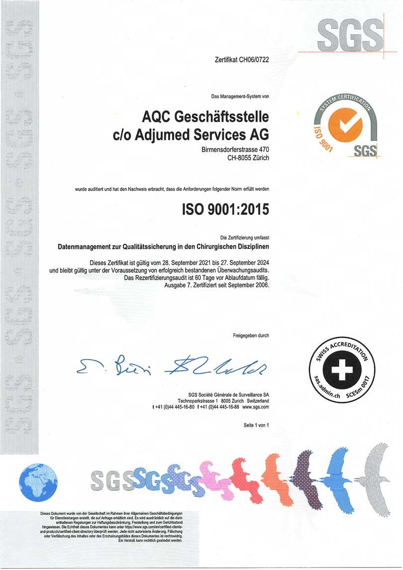 Bild ISO Zertifikat AQC